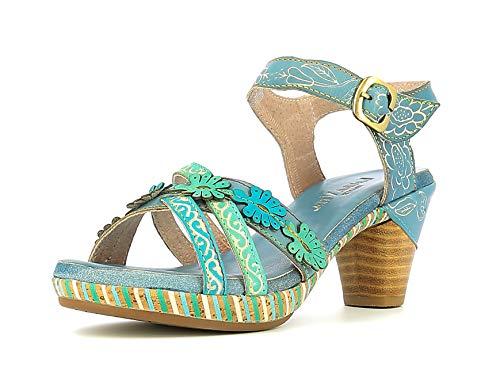 LAURA VITA Beclforto 02 Sandales Mode Femme, Pointure:36 EU, La Couleur:Bleu
