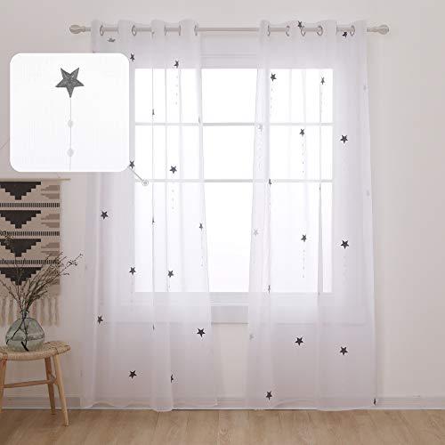 UMI. by Amazon 2 Stück Voile Vorhang Ösenvorhang Transparent Dekoschal mit Stickerei Stern 240x140 cm Grau