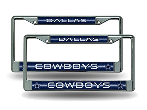 Rico Dallas Cowboys Chrome Metal (2) Sparkly Glitter Bling Look License Plate Frame Set