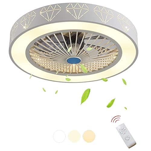 WERCHW Ventilador de techo con luces, montaje en color, control remoto LED Dimagen 3 colores Iluminación Ventilador de techo 20 pulgadas Cocina, Dormitorio, Habitación for niños Ventilador de techo in
