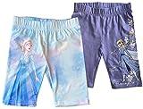Coole-Fun-T-Shirts Frozen Die Eiskönigin Radler Shorts Kurze Leggings Hose Mädchen Hellblau + Lila Anna + ELSA Sport Schule Kita Gr.98 104 116 128 (Set 2 Stück, 116)