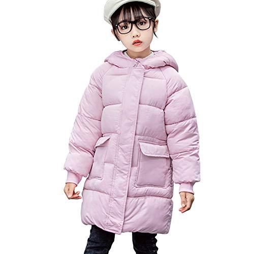 LSHDCER Cappotto imbottito per bambini e ragazze, Parka con cappuccio Puffer Cappotto invernale elegante trapuntato lungo giacca cappotto caldo antivento rosa 13-14 Anni
