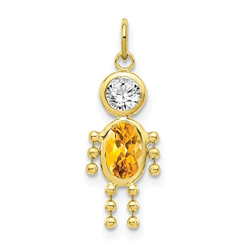 10k Yellow Gold November Boy Birthstone Pendant Charm Necklace Kid Fine Jewelry For Women Gifts For Her