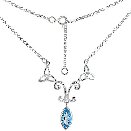 Sterling Silver Celtic Trinity Triquetra Knot Necklace with Genuine Blue Topaz, 16-17 inch Long