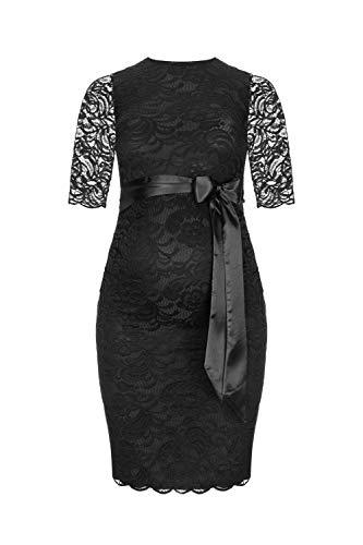 Herzmutter Umstands-Spitzen-Kleid - Elegantes-knielanges-Schwangerschafts-Kleid - für Festliche Anlässe-Hochzeit-Feier - Mit Spitze - Creme-Champagner-Blau-Rot-Rosé - 6200 (Schwarz, XL)