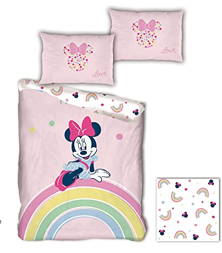 MN Minnie Mouse Disney – Funda de edredón infantil con diseño de Arc en cielo – Juego de cama individual