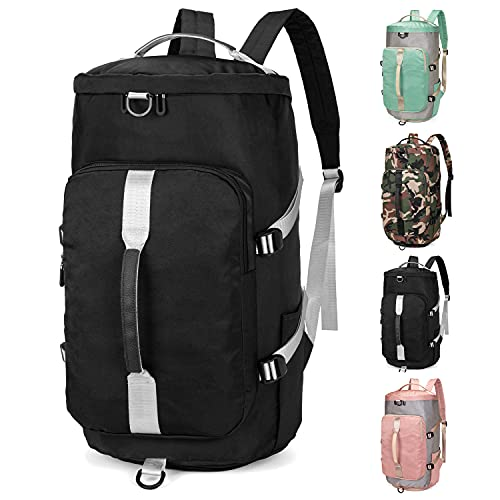 FEDUAN 3 in 1 borsa sportiva con funzione zaino donna uomo bagaglio a mano borsa a tracolla borsa da viaggio aereo borsa da palestra zaino da scuola borsone da viaggio (Nero)