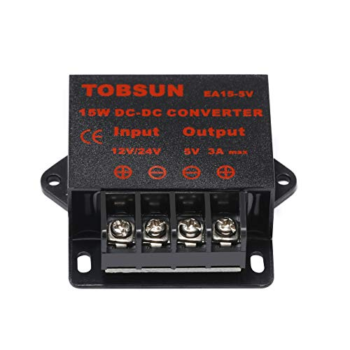 BANKEE DC 12V 24V to 5V 3A Converter DC Voltage Reducer Regulator Step Down Buck Converter Power Supply Volt Transformer Module (12V/24V to 5V 3A)