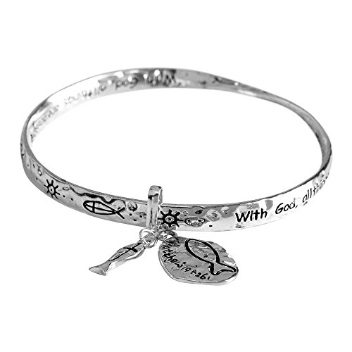 Dicksons with God, All Things Possible Mobius Silver-Plated Women's Bangle Bracelet