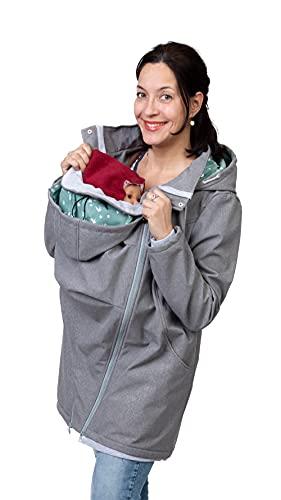 Viva la Mama - Jacke Schwanger Softshell Jacke mit Baby Einsatz Känguru Jacke Tragepullover Allwetter Outdoor warme Jacke schwanger - MELLORY grau Schwalben - S