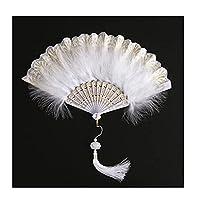 QIXIAOCYB デコラティブレトロなスタイルの羽の折りたたみファン、ダンスキャットウォークショー、結婚披露宴の装飾の女性のためのロリータハンドヘルドファン ファン (Color : White)
