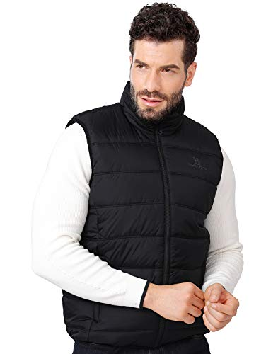 CAMEL CROWN Puffer Vest Men Quilted Winter Padded Sleeveless Jackets Gilet for Casual Work Travel Outdoor Black M