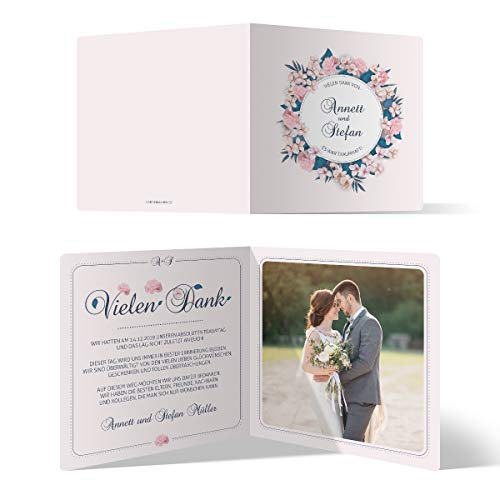 30 x Hochzeit Danksagungskarten Klappkarten 148x148mm Quadrat selbst gestalten mit Foto und Text - Blumen Romantik