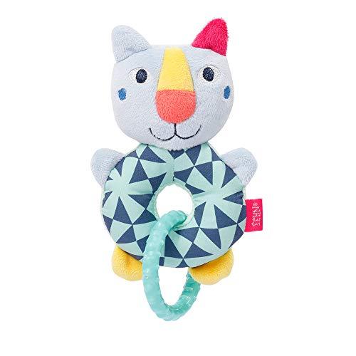 Fehn 055290 - Anello per gattino Color Friends, giocattolo motorizzato con sonaglio e anello di presa, stimola l'apprendimento precoce, fedele compagno per neonati e bambini a partire da 0 mesi