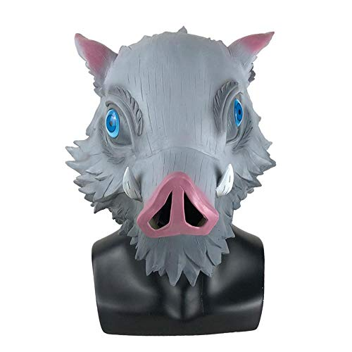 XWYWP Halloween Maske Cosplay Anime Masken Wildschwein Schweinekopf Latex Helm Halloween Party Requisiten HashibiraInosuke
