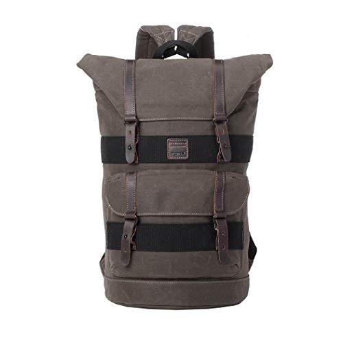 Troop London Canvas Leather Fold Top Rucksack, Rucksack für Damen und Herren, Laptop Rucksack für Damen und Herren, Canvas Tasche für Reisen und Wandern, A4 Größe - TRP0474 Olive