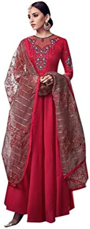 Festival Magenta Embroidered Pure Muslin Long Salwar Kameez Suit for Women Indian Muslim Party wear 7518