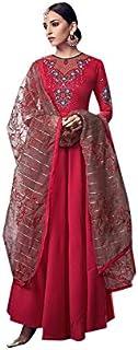 ETHNIC EMPORIUM Women's Red Pakistani Long Dress Abaya Style Ready to Wear Handwork Organza Dupatta Salwar Kameez Indian 7...
