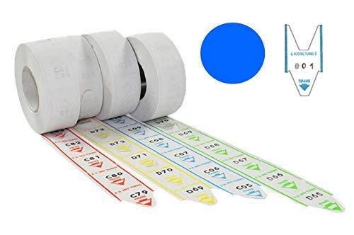5 rotoli da 2000 tickets per eliminacode coda di rondine alfa numerate BLU
