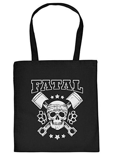 Motorrad Tasche - Biker Motiv Einkaufstasche - Geburtstag Geschenktasche : Fatal - Totenkopf Schlagring Skull Kolben Motor Farbe:Schwarz