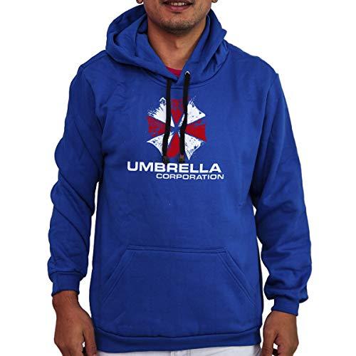 Agasalho Flanelado Capuz Unissex Resident Evil Umbrela Corps Cor:Azul;Tamanho:P