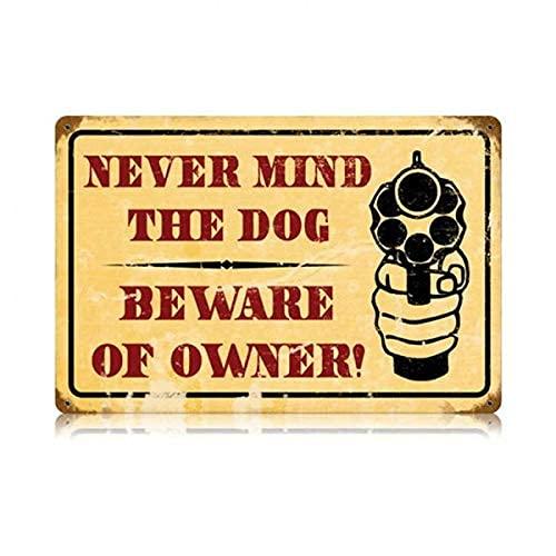 Retro skylt se upp för ägaren plåtskylt Warning No Trespassing se upp hund skjutvapen söt metallskylt hem gård café bank väggdekoration april idioter dag påsk berså bästa presenten till vänner 20 x 30 cm