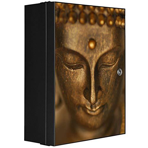 banjado XXL Medizinschrank abschliessbar | großer Arzneischrank 35x46x15cm | Medikamentenschrank aus Metall grau | Motiv Buddha Gold mit 2 Schlüsseln | Gestaltung auf Front