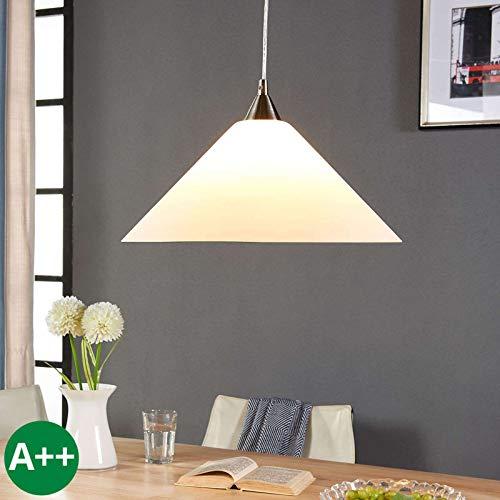 Lindby Pendelleuchte \'Petra\' dimmbar (Modern) in Weiß aus Glas u.a. für Küche (1 flammig, E27, A++) - Hängelampe, Esstischlampe, Hängeleuchte, Küchenleuchte