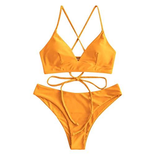 CheChury Mujeres Conjunto de Bikini con Relleno Halter Bañador Push Up Tirantes Cruzados Bikini Floral impresión Trajes de baño
