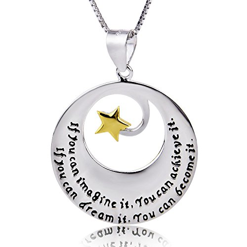 ELBONTEK Two-Tone 925 Sterling Silver and Yellow Gold Inspirational Pendant Necklace, 18''