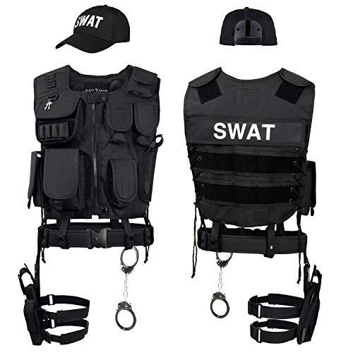 Black Snake SWAT FBI Police Security Kostüm inkl. Einsatzweste, Pistolenholster, Handschellen und Baseball Cap - M/L - SWAT