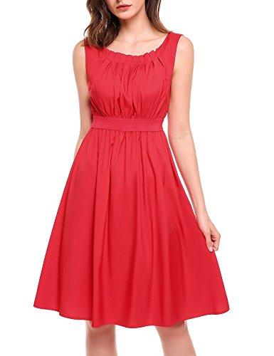 Beyove Damen Chiffon Kleid Sommerkleid mit Plissee-Falten Spitzenkleid Cocktailkleid Brautjungfernkleid Ärmellos (EU 38(Herstellergröße: M), Rote Daten)