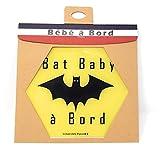 Autocollant Voiture Bébé à Bord Bat Baby - Made in France - 12x13 cm - Sticker adhésif résine naturelle - Cadeau pour futur papa et maman - Accessoire voiture