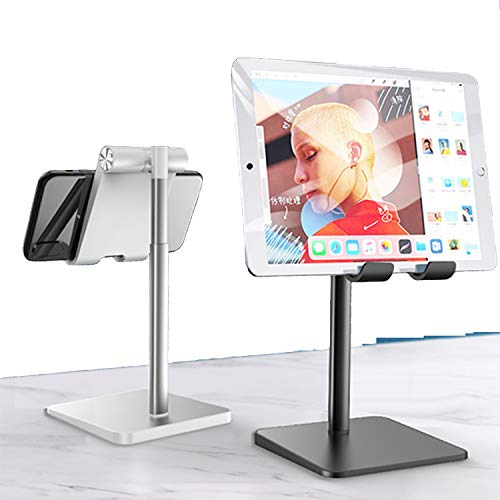 XUNMI Cell Phone stand for desk, Angle Adjustable Vertical Desktop Phone Stand, Cradle,Desktop Holder Stand for All Mobile Phones,Pad,Nintendo Switch,etc-Silver