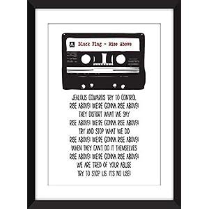 Black Flag – Rise Above Lyrics – Unframed Retro Cassette Print/Ungerahmter Druck