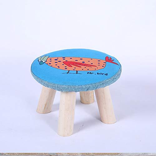 Ronde voetenbank met massief houten leg, beklede kruk, D