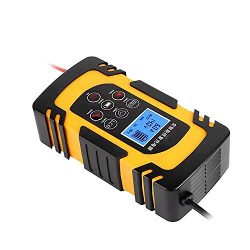 CUIJU Cargador de batería de Coche Inteligente para Mantenimiento de automóviles,Motocicletas,cortacésped,baterías de Plomo ácido,reparación de Cargadores automáticos (Amarillo)