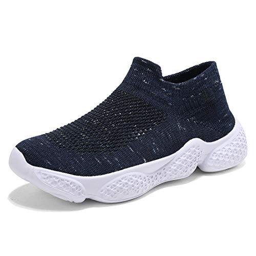 Scarpe Sportive Bambini Scarpe da Ginnastica Leggera Ragazzi Scarpe da Corsa Ragazze Scarpe da Tennis Trekking Atletico Leggero Sneaker EU35 Blue-A