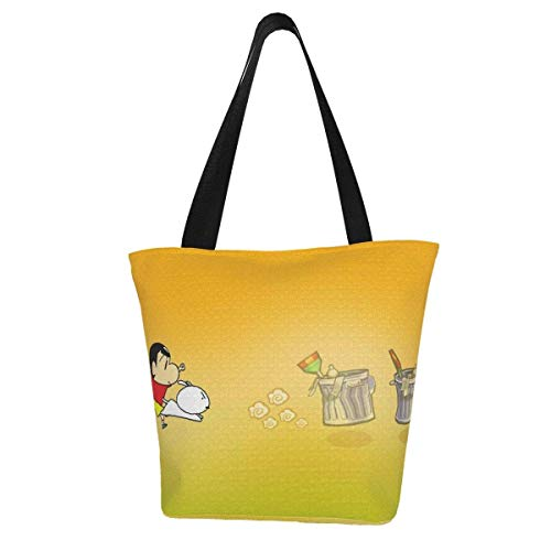 Canvas Tote Bag for Womens and Girls Crayon Shinchan Animation Shoulder Handbags Beach Bag Big Capacity Shopping Bag with Zip