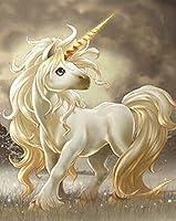 子供大人のためのDIY5Dダイヤモンド絵画キット家/装飾/壁のためのフルドリルダイヤモンドキットかわいい漫画の馬45x60cm
