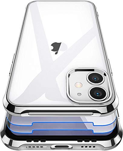 Garegce Cover Compatibile con iPhone 11 con 2 Pezzi Vetro Temperato, Trasparente Silicone, Sottile Antiurto Protettiva Case Custodia Compatibile con iPhone 11-6.1 Pollici - Plating Argento
