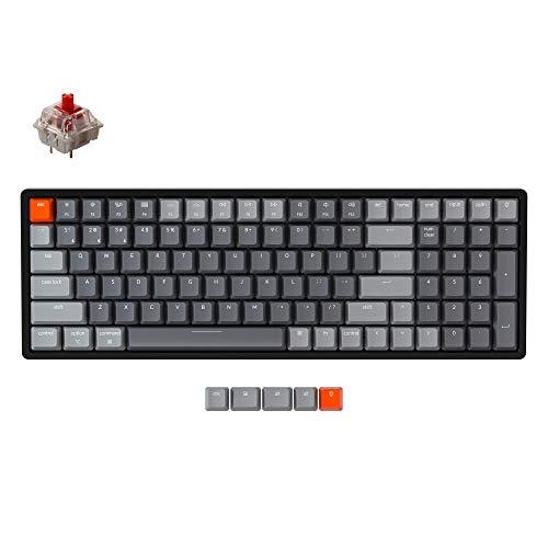 Keychron K4 Wireless Bluetooth/USB Wired Gaming Mechanical Keyboard, Compact 100 Keys RGB LED Backlit Gateron Red Switch N-Key Rollover, Aluminum Frame for Mac Windows, Version 2