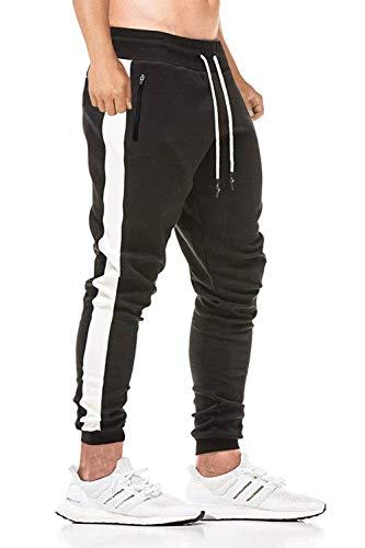 Yidarton Herren Jogginghose Stylische Baumwolle Sweathose Fitness Slim Fit Freizeithose Trainingshose mit Reissverschluss Taschen (Medium, Schwarz)