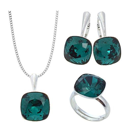 Crystals & Stones - NEUHEIT SQUARE - GROSS Schmuck-Set - Farbe Varianten - Silber 925 Schön Damen Schmuckset mit Kristallen von Swarovski Elements - Schmuckset mit Geschenkbox (Emerald)