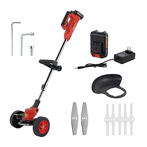 Cordless String Trimmers,Wheeled Edge,Electric Weed Whacker Battery Powered 40V 4Ah Battery Chapter Included,Grass Trimmer Lawn Mower Cordless Weed Brush Cutter Grass Trimmer,Length Adjustable
