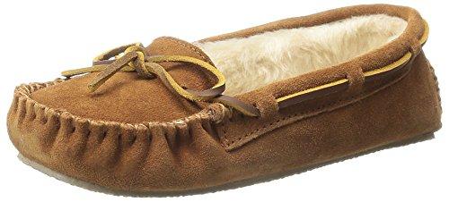 Minnetonka Women's Cally Faux Fur Slipper, Brown, 6