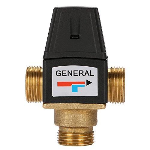 Válvula termostática, 3 vías DN20 Rosca macho Latón Alto flujo Válvula mezcladora termostática de buen rendimiento 35-60 grados Válvula de control para calentador solar de agua Calefacción por piso