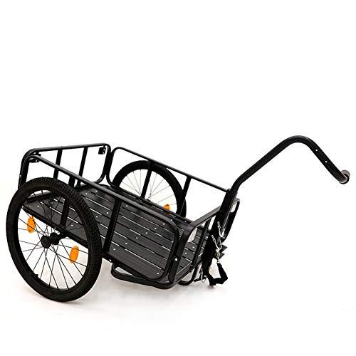 KUHO Bike Cargo Trailer, Multifuncional Aleación de Aluminio Transporte Crate & Mano Wagon, con Plegable de tracción y Neumáticos de liberación rápida 49 kg Capacidad de carga