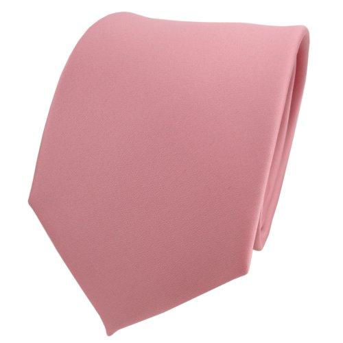 TigerTie Designer Satin Krawatte in rosa altrosa einfarbig uni