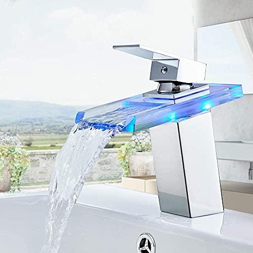 RenXin - Grifo LED para Lavabo con Efecto Cascada, con Sensor de...